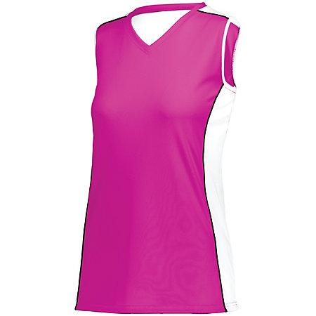 Ladies Paragon Jersey Power Pink/white/black Adult Volleyball
