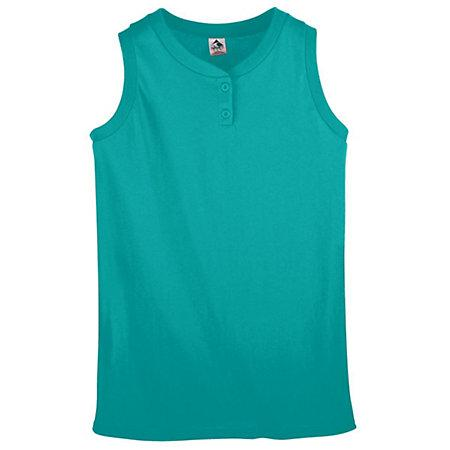 Ladies Sleeveless Two Button Softball Jersey Teal