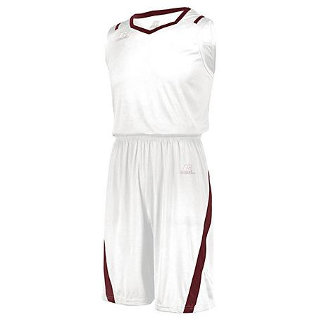 Athletic Cut Shorts White/cardinal Adult Basketball Single Jersey &