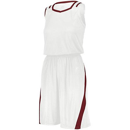Ladies Athletic Cut Shorts White/cardinal Basketball Single Jersey &