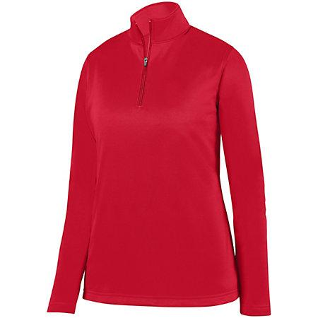 Ladies Wicking Fleece Pullover Red Softball