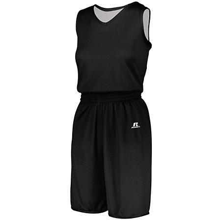 Ladies Undivided Solid Single-Ply Reversible Jersey Black/white Basketball Single & Shorts