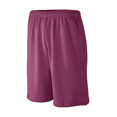 Youth Longer Length Wicking Mesh Athletic Shorts Maroon Basketball Single Jersey &