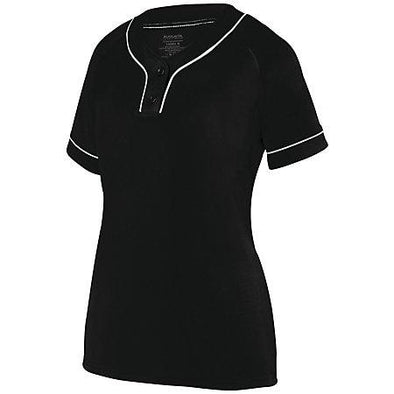 Ladies Overpower Two-Button Jersey Black/white Softball