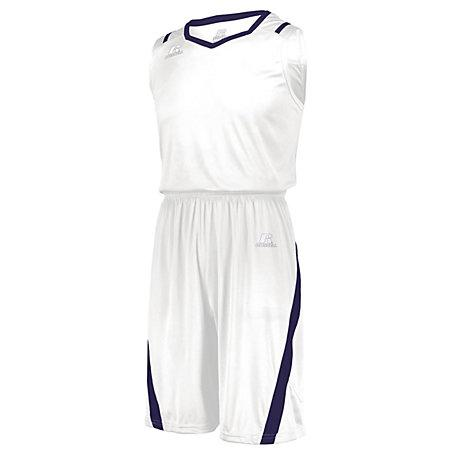 Athletic Cut Jersey Blanco / morado Adultos Baloncesto Single & Shorts