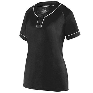 Girls Overpower Two-Button Jersey Black/white Softball