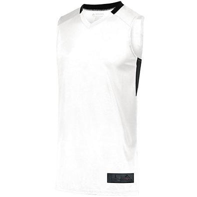Step-Back Baloncesto Jersey Blanco / negro Adulto Single & Shorts