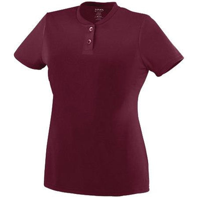 Ladies Wicking Two-Button Jersey Maroon Softball