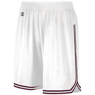 Shorts de baloncesto retro Blanco / marrón Adulto Single Jersey &