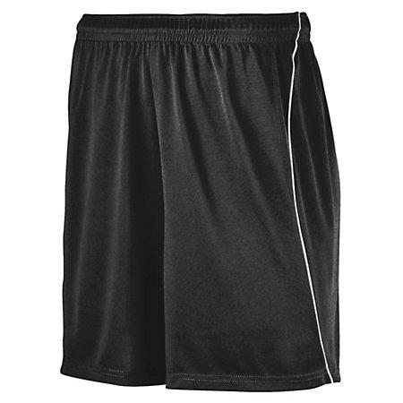 Youth Wicking Soccer Shorts With Piping Black/white Single Jersey &