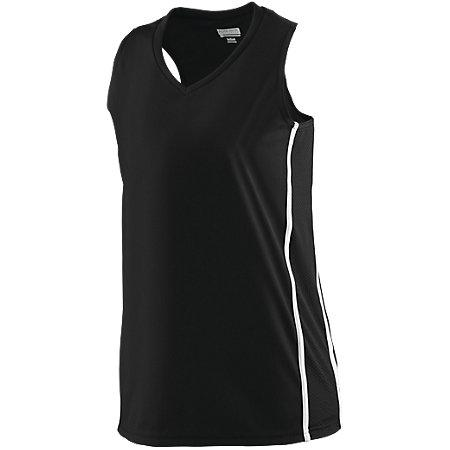 Ladies Winning Streak Racerback Jersey Black/white Basketball Single & Shorts