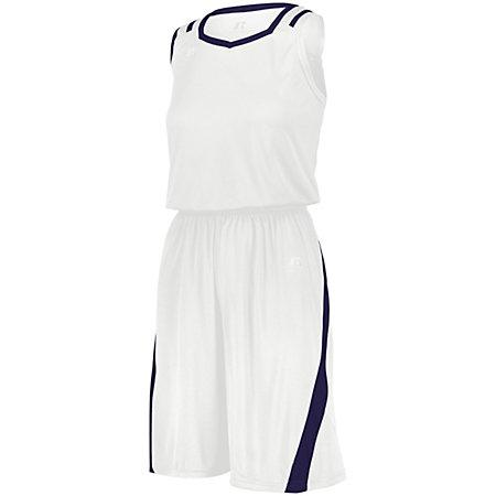 Ladies Athletic Cut Shorts White/purple Basketball Single Jersey &