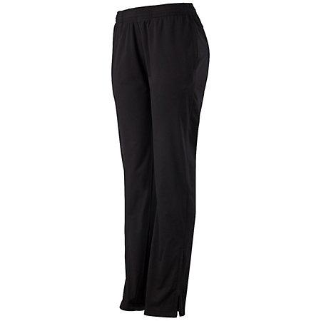 Ladies Solid Brushed Tricot Pant Black Softball