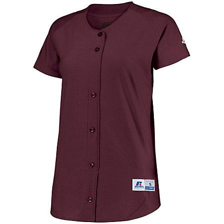 Ladies Stretch Faux Button Jersey Maroon Softball