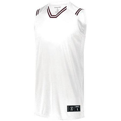 Youth Retro Basketball Jersey White/maroon Single & Shorts