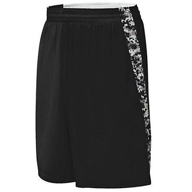 Hook Shot Shorts reversibles Negro / negro Digi Adult Baloncesto Single Jersey &