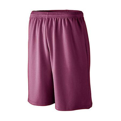 Shorts deportivos de malla absorbente de mayor longitud Maroon Adult Baloncesto Single Jersey &