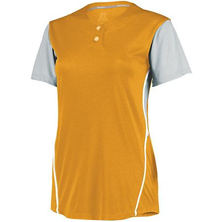 Ladies Performance Two-Button Color Block Jersey Gold/baseball Grey Softball