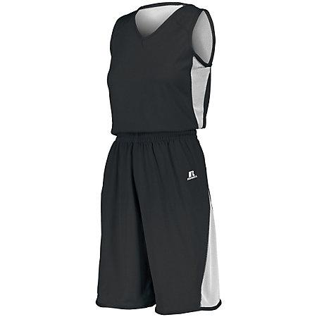 Ladies Undivided Single Ply Reversible Shorts Black/white Basketball Jersey &