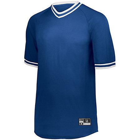 Retro V-Neck Baseball Jersey Royal/white Adult