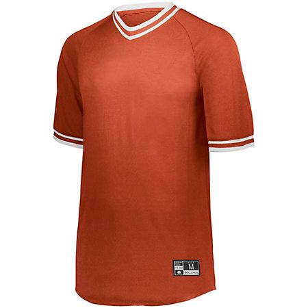 Retro V-Neck Baseball Jersey Orange/white Adult