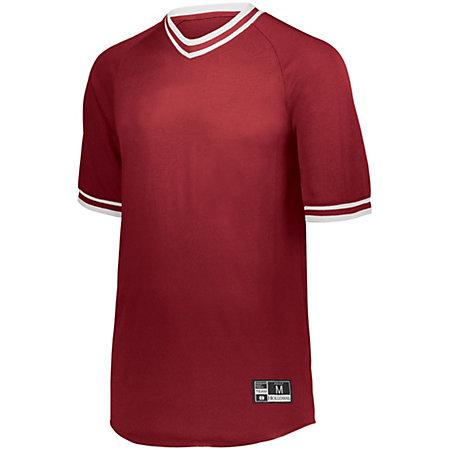 Retro V-Neck Baseball Jersey Scarlet/white Adult