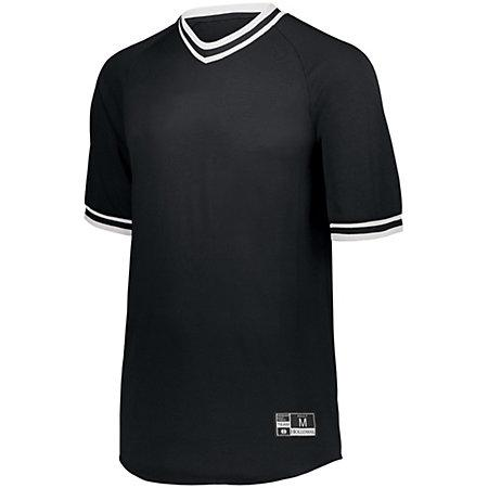 Retro V-Neck Baseball Jersey Black/white Adult