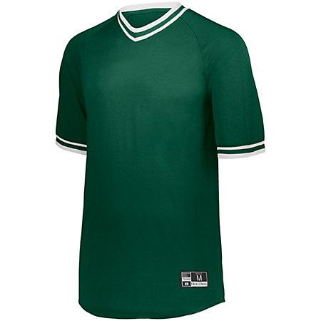 Retro V-Neck Baseball Jersey Forest/white Adult