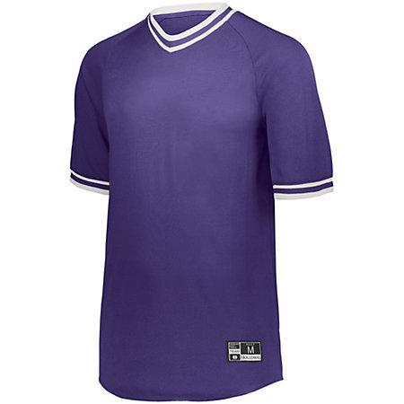Retro V-Neck Baseball Jersey Purple/white Adult