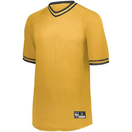 Retro V-Neck Baseball Jersey Light Gold/black Adult