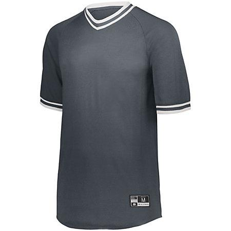 Youth Retro V-Neck Baseball Jersey Graphite/white