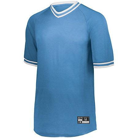 Retro V-Neck Baseball Jersey University Blue/white Adult
