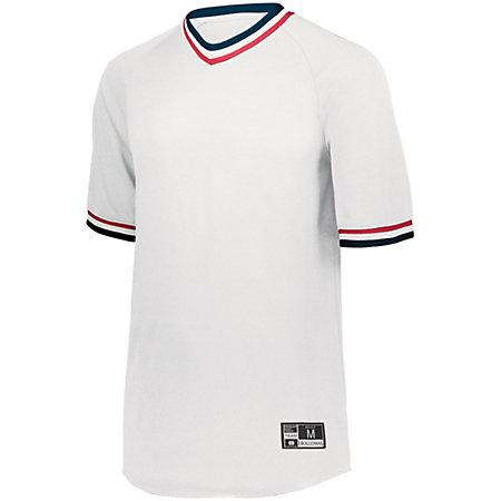 Retro V-Neck Baseball Jersey White/navy/scarlet Adult