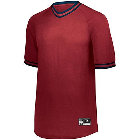 Retro V-Neck Baseball Jersey Scarlet/navy Adult