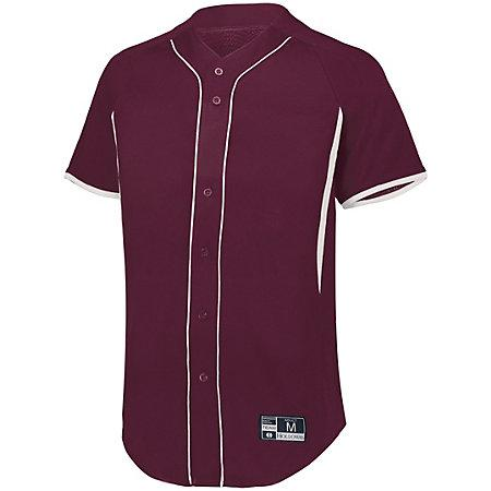 Game7 Full-Button Baseball Jersey Maroon/white Adult Baseball