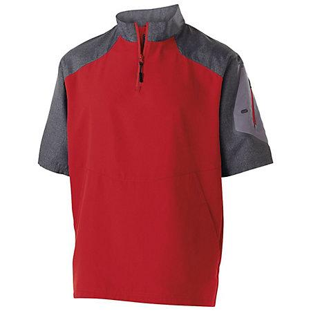 Raider Short Sleeve Pullover Carbon Print/scarlet Adult Baseball