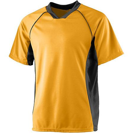 Wicking Soccer Jersey Gold/black Adult Single & Shorts