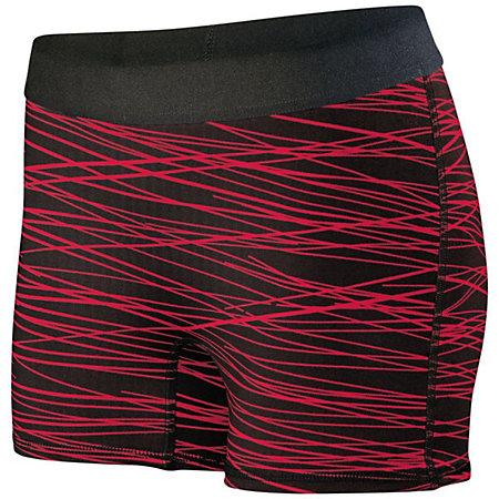 Ladies Hyperform Fitted Shorts Black/red Print Adult Volleyball