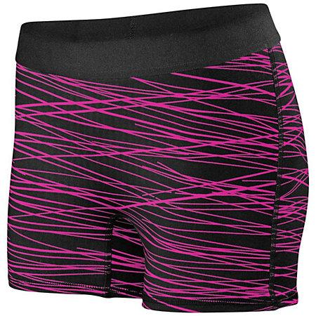 Ladies Hyperform Fitted Shorts Black/pink Print Adult Volleyball