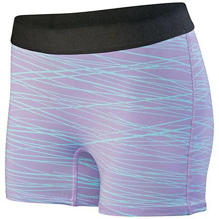 Ladies Hyperform Fitted Shorts Light Lavender/aqua Print Adult Volleyball