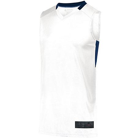 Step-Back Baloncesto Jersey Blanco / azul marino Adulto Single & Shorts