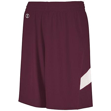 Youth Dual-Side Single Ply Basketball Shorts Maroon/white Jersey &