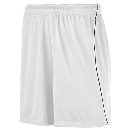 Youth Wicking Soccer Shorts With Piping White/black Single Jersey &