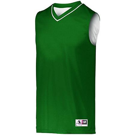 Reversible Two Color Jersey Dark Green/white Adult Basketball Single & Shorts