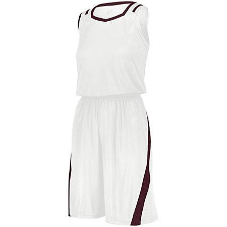 Shorts de corte atlético para damas Jersey blanco / granate de baloncesto Single &