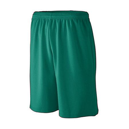 Youth Longer Length Wicking Mesh Athletic Shorts Dark Green Basketball Single Jersey &