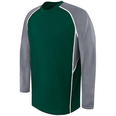 Adult Long Sleeve Evolution Top Forest/graphite/white Basketball Single Jersey & Shorts