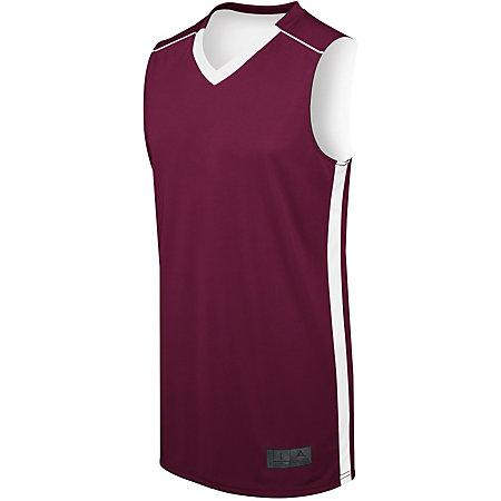 Ladies Competition Reversible Jersey Maroon/white Basketball Single & Shorts