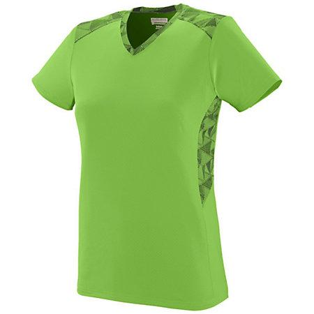 Ladies Vigorous Jersey Lime/lime/black Print Softball