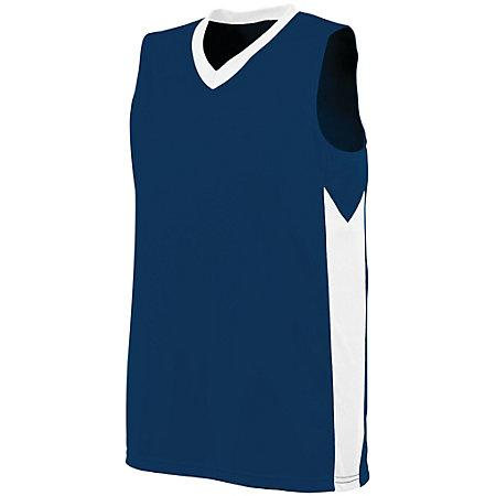 Ladies Block Out Jersey Navy/white Basketball Single & Shorts